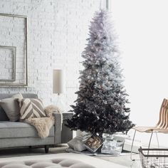 Vintage Black Ombre Spruce Pre-lit Christmas Tree by Sterling Tree... ($170) ❤ liked on Polyvore featuring home, home decor, holiday decorations, vintage home decor, vintage home accessories, vintage holiday decorations, black home decor and vintage holiday decor