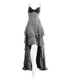 Look what I found on #zulily! Nuvula Black & White Stripe Tiered Hi-Low Dress by Nuvula #zulilyfinds
