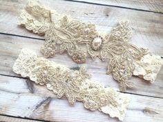 Gold Wedding Garter Gold Bridal Garter Lace by TheRaggedDiamond