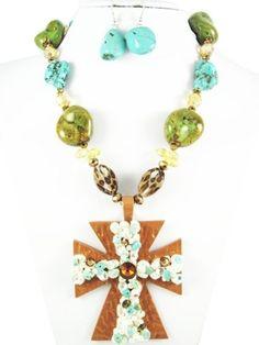 Large Stone & beaded cross necklace set $20.00  www.rainingrustic.com