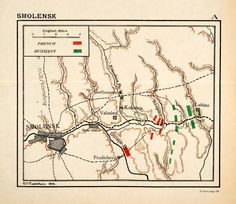 1899 Lithograph Map Napoleonic War Battle Smolensk Russia French Army XEF9