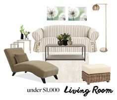 """""""Under $1,000 Living Room"""" by dezaval ❤ liked on Polyvore featuring interior, interiors, interior design, home, home decor, interior decorating, Sure Fit, Threshold, Dot & Bo and LSA International"""