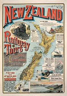 Vintage New Zealand Railway Tours Map Map Of New Zealand, New Zealand Travel, Auckland, A4 Poster, Poster Wall, Map Shop, Railway Posters, Kiwiana, Pinterest Photos