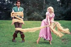 Disney Cosplay Since Devin is Flynn Rider and I have pretty long hair.this might have to be our Halloween costume haha Disney Cosplay, Tangled Cosplay, Tangled Costume, Costume Halloween, Image Halloween, Cool Costumes, Costume Ideas, Funny Costumes, Adult Halloween
