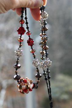 Long Smoky Topaz Swarovski Crystal Beadwork Necklace - Free shipping. $58.00, via Etsy.