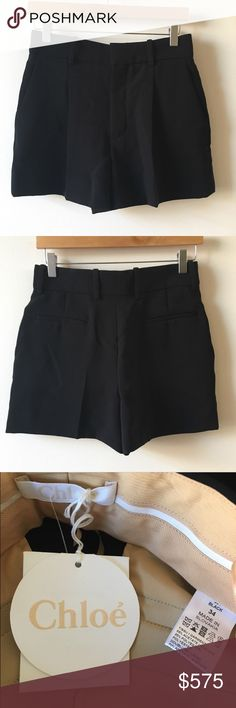 Chloe iconic crepe pleated black shorts Chloe iconic black crepe pleated shorts. Very classic shorts can wear forever and with everything! Please check before buying as I have these on another app! Chloe Shorts