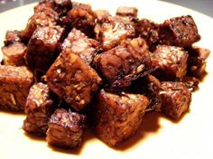 Italian Flavored Tempeh Nuggets from Food.com:   								These are amazing! When these cook, the balsamic marinade becomes a delicious caramelized coating. Use these nuggets over salads, over rice or to accompany pasta.  They make great little finger snacks too.  Cooking time does not include marinade time.