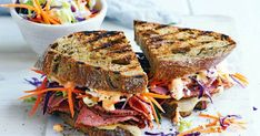 This Reuben sandwich recipe makes enough for one sandwich, including the Russian dressing. Just scale it up to make more sandwiches, and any extra dressing will keep in the fridge. Reuben Sandwich, Coleslaw Sandwich, Sandwich Recipes, Vegan Coleslaw, Alton Brown, Cooking For A Crowd, Cooking On The Grill, Keto Cole Slaw, Chicken And Leek Pie