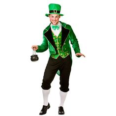 wicked Mens Deluxe Lucky Leprechaun St Patricks Fancy Dress Costume : Deluxe Leprechaun - Adult Costume Man: L (Chest: wicked Irish Costumes, Wicked Costumes, Funny Costumes, Adult Costumes, Halloween Costumes, Men's Costumes, Halloween Parties, Costume Leprechaun, Party