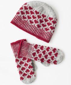 Stickbeskrivning mössa och vantar med julmönster Sticka vinterns s. Stick description hat and mittens with Christmas pattern Knit winter's most stylish set in warm and soft wo Knitted Mittens Pattern, Fair Isle Knitting Patterns, Knitting Blogs, Knit Mittens, Knitting Charts, Knitting Yarn, Free Knitting, Knitting Projects, Knitted Hats