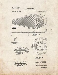 Snowshoe And Tread Therefor Patent Print Art Poster Old Look (11' x 14')