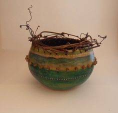 Gourd Art. Gourd Bowl with Grapevine Rim and Beads by ZolioArts, $70.00
