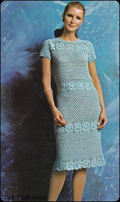 No.110 Vintage Crochet patrón PDF Vestido de por TickTockKnits