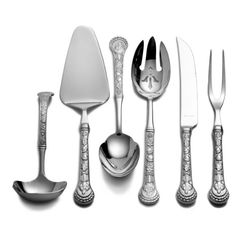 This Wallace 6-Piece Turkey Hostess Set includes all the utensils you need to serve a holiday meal. This set includes a salad serving spoon, a salad serving fork, a gravy ladle, a carving fork, a carving knife and a pie server. The pieces in this set are constructed from durable, rust-resistant stainless steel. This set