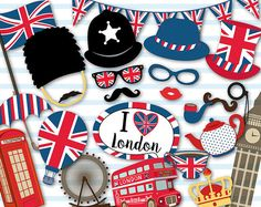 Printable British Party Photo Booth Props, England British Travel Party Photo Booth Props, Printable London Party Photobooth Props 0398