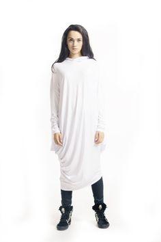 Oversize White Loose Hooded Top / Asymmetric Raglan by Aakasha