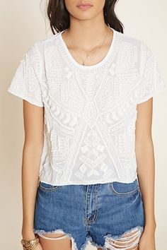 Bead-Embroidered Top - Tops - Blouses + Shirts - 2000186497 - Forever 21 EU English