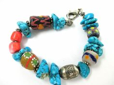 End of Day TRIBAL GLASS- KROBO -BEGGER BEAD-CORAL & STONE BRACELET- GREAT COLOR! #UnknownHandmade #TribalBead