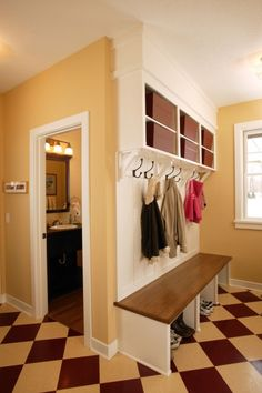 Love the idea of an area for everyone in the family to have their own space to store everyday items !!