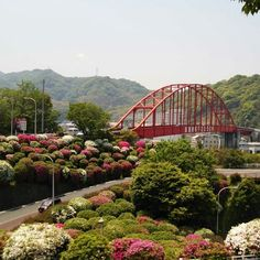 Ondonseto park with red arch bridge, connect mainland by Kure with Kurahashi island