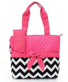 Chevron Print Diaper Bag Black/White Pink Trim