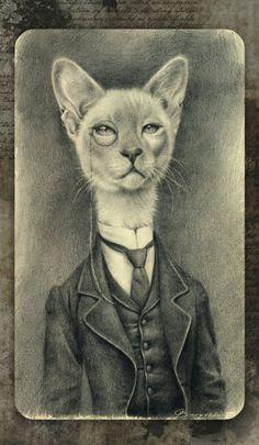 El señor Gato (ver más animales en Anthropomorphic ~ by Matt Hendon)