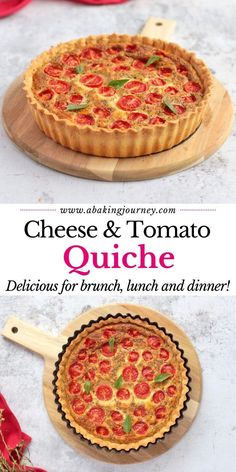Easy Cheese and Tomato Quiche Recipe made from scratch! This easy cherry tomato quiche recipe with basil is great for any meal of the day: breakfast, brunch, lunch or even a light dinner. With its homemade quiche pastry and cheese quiche filling, it is a great homemade tomato pie to serve to your guest or bring to work in your lunchbox. Packed with flavours, herbs and yummy cheese, this easy quiche recipe is always a winner in my books! #quiche #tomato #cheese #pie #cherrytomato