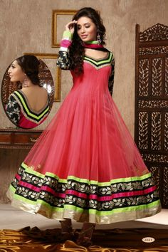 Pink Net #Anarkali #Suit with Embroidered and Lace Work - Rs. 8,399.  #zohraa
