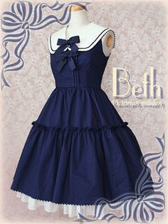 Victorian Maiden Ribbon Sailor Doll Dress in Navy #sailorloli #lowkeywishlist