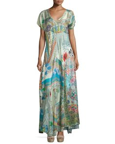 Johnny Was Collection Leyla Short-Sleeve Printed Maxi Dress