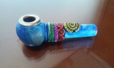 Blue Hippie Style Tobacco Smoking Pipe Collection Small Bowl Design Metal Edge