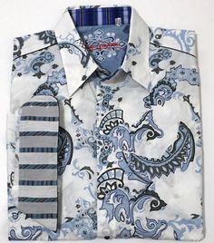 Robert Graham White Blue Embroidered Long Sleeve Shirt Flip Cuff Size 2XL   RobertGraham  ButtonFront 59cca6f70