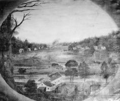 Painting of Chippewa Falls circa 1850. Artist unknown.