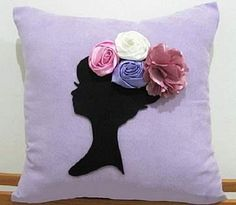 linda square pillow w.silhoette of girl's head & neck w/rose flowers as hat