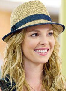 Katherine Heigl in a straw trilby hat