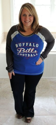 Cute Everyday Outfit with Team Spirit! Women's Buffalo Bills Majestic Royal/Gray Fantasy League Long Sleeve T-Shirt #MyNFLFanStyle #CleverGirls #ad