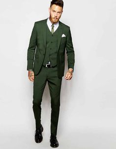 ASOS Skinny Fit Suit In Khaki ... don't think I need a 3-piece, but I like the color of this one
