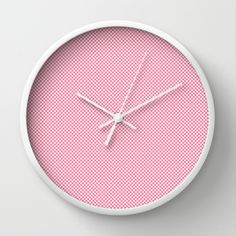 Houndstooth White & Pink small Wall Clock by Julie's Thingummies - $30.00 Hounds Tooth, Dog Teeth, Fabric Design, Fabrics, Clock, Wall, Pink, Houndstooth, Watch