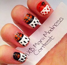 March Madness Basketball Nails