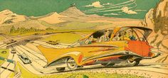 Driverless car of the future, as depicted in the Feb 22, 1959 edition of Closer Than We Think by Arthur Radebaugh