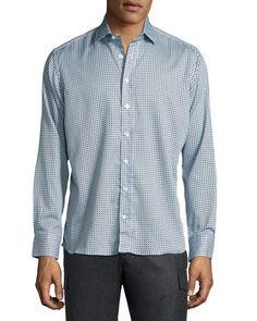 ETRO Geometric-Print Cotton Shirt, Blue/White. #etro #cloth #