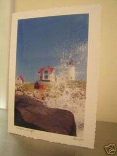 #388 Nubble Light  Splash  Photography Greeting Card  All Occasion Note Card