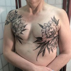 Double mastectomy cover on a very wonderful person, also her first tattoo! Photo and tattoo by @nomi_chi