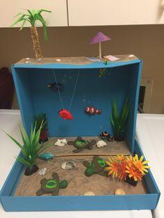 Coral Reef diorama w/ loggerhead turtles