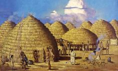 A Caddo Indian village such as used to exist in parts of present-day Texas, Louisiana, Arkansas, and Oklahoma.