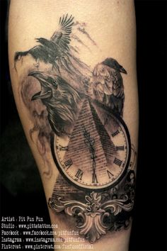 Pyramid Clock With Crows Tattoo Design