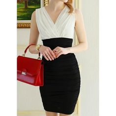 Vintage V-Neck Sleeveless Color Block Pleated Dress For WomenVintage Dresses   RoseGal.com