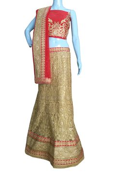 Buy Now Gold Heavy Zari Diamond Work Wedding Semi-Stitch Lehenga Choli With Blouse only at Lalgulal.com. Price :- 6,822/- inr. To #Order :- http://goo.gl/8f9tVW To Order you Call or #Whatsapp us on +91-95121-50402 COD & Free Shipping Available only in India.