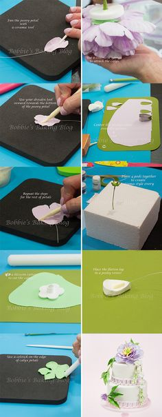 Peony step by step tutorial, check out the full tutorial: http://bobbiesbakingblog.com/blog/2013/06/05/create-sugar-paste-tuberoses/