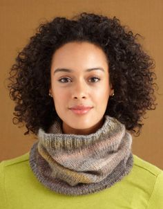 Two Stitch Cowl. Uses only the knit and purl stitches to create the stockinette cowl and its thick ribbed edges.